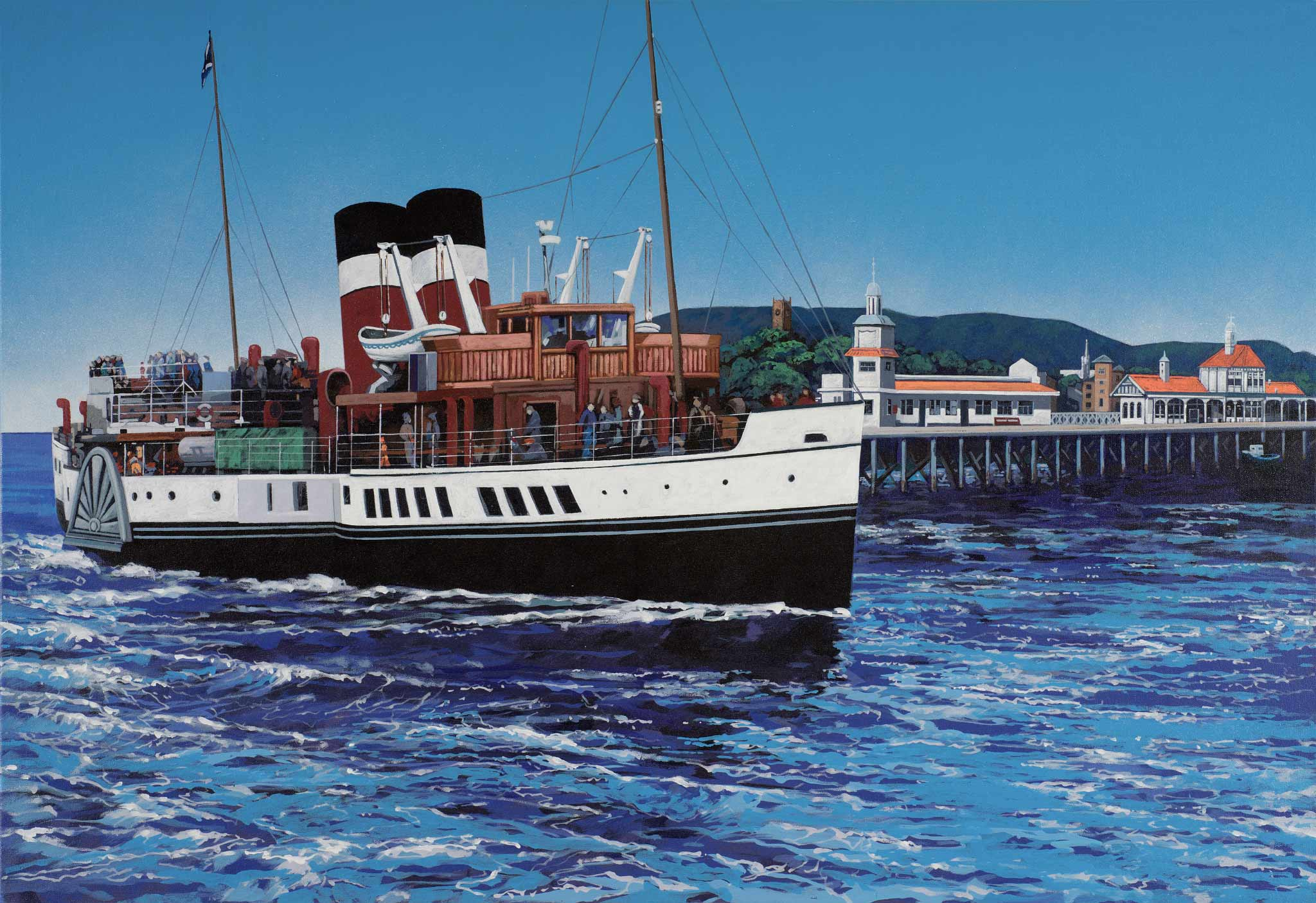 Painting of Wavely sailing past Dunoon Pier